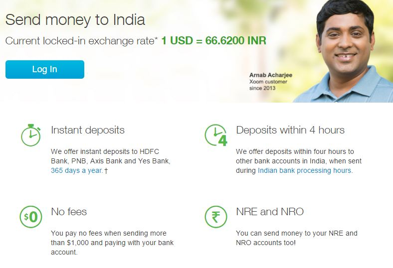 Xoom money transfer to India