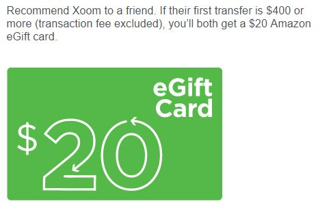 Xoom refer a friend reward
