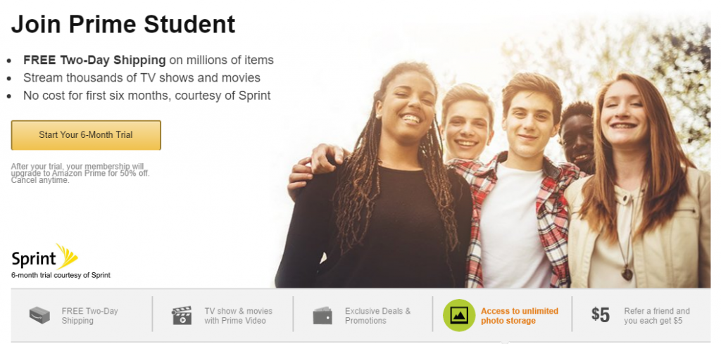 Amazon offer low prices on groceries, furniture, books, sports equipment, MP3, DVDs, video games and much more. With Amazon Student you get next day delivery on millions of items. Enjoy 50% Prime student discount when you shop with Amazon.
