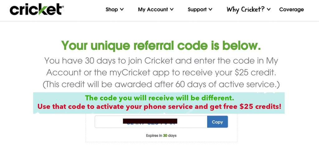 cricket wireless 25 credit referral
