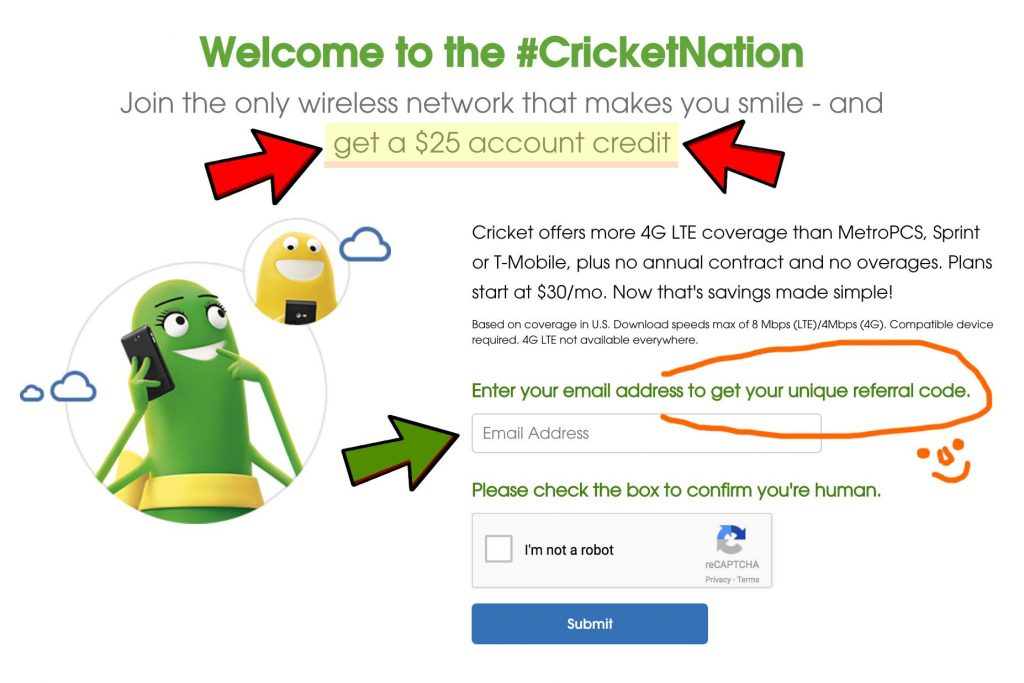 cricket wireless referral code $25