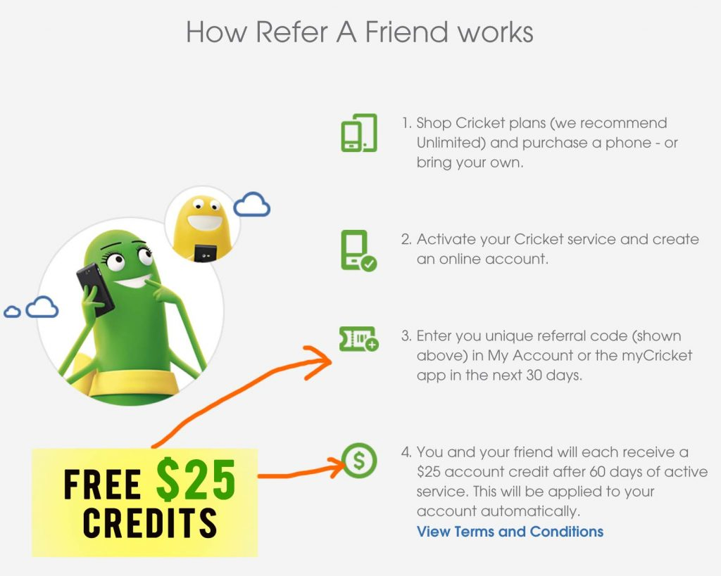 cricket wireless referral sign up