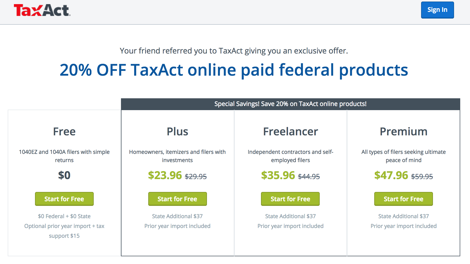 TaxAct promo code: 20% Off