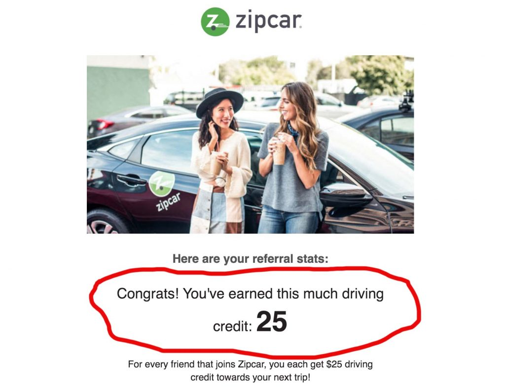 Zipcar referral signup credit