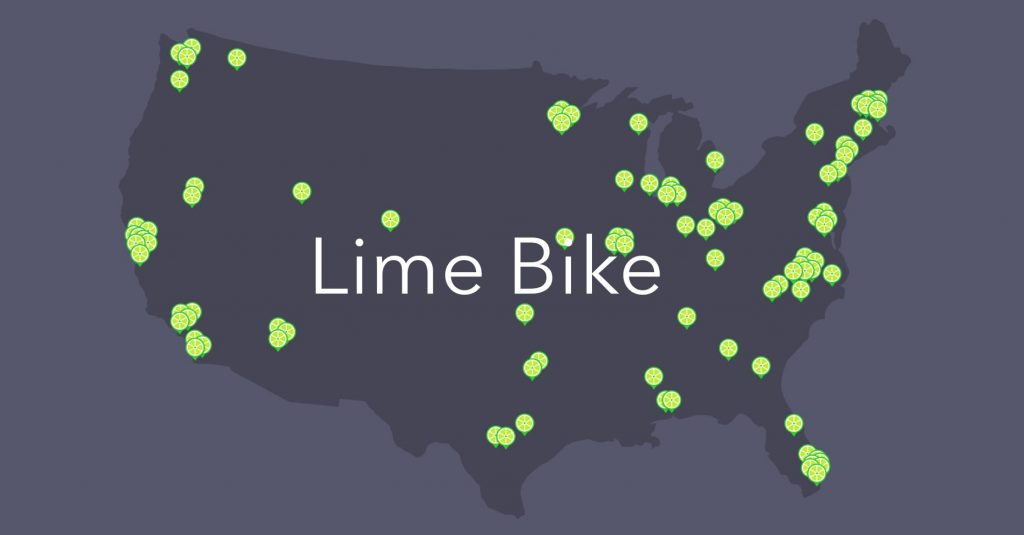 Lime bikes are available in these cities.
