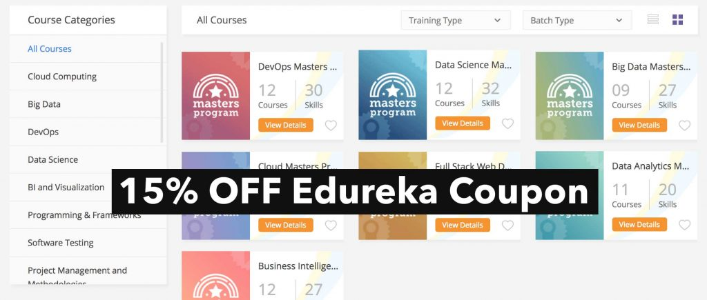 Edureka coupon 15% OFF your order